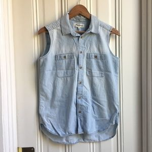 Madewell Sleeveless Denim Chambray Button Down